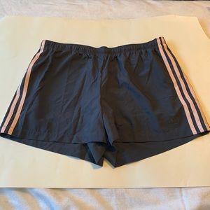 Adidas grey and pink running shorts
